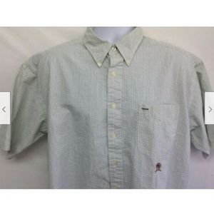 Men's Green Striped Crinkle Shirt XL